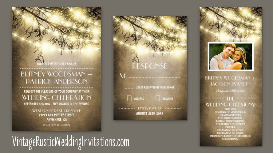 Vintage tree branch wedding invitations with string lights