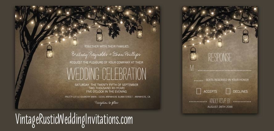 Country vintage mason jar oak tree wedding invitations
