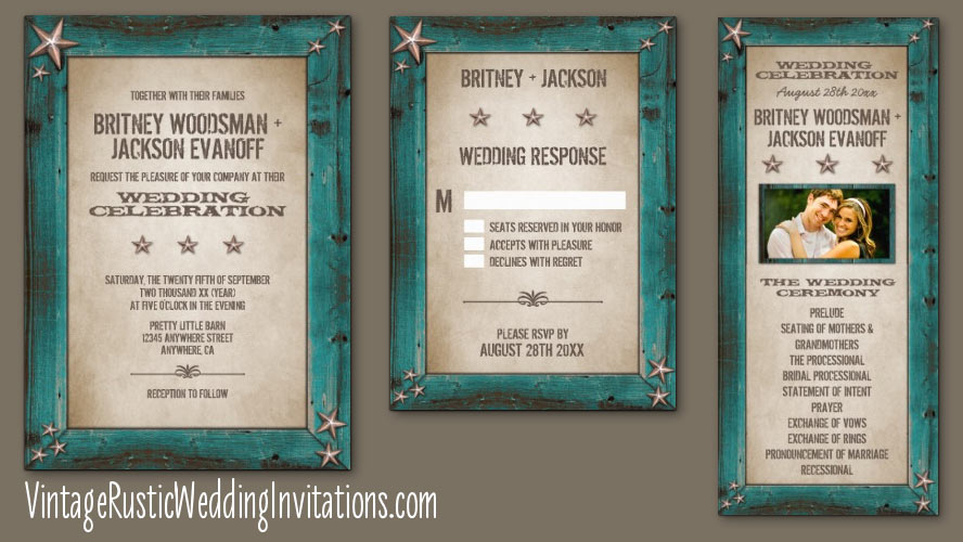 Western Turquoise Barn Wood Wedding Invitations