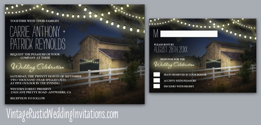 farm string lights with rustic barn wedding invitations set