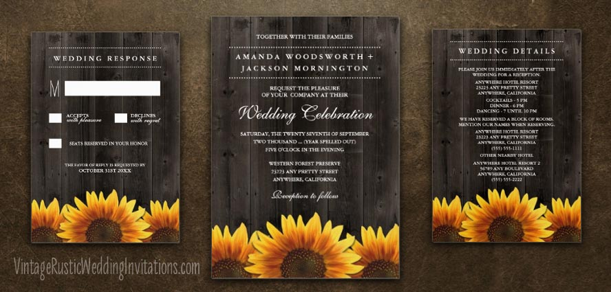 barn wood country sunflower wedding invitations