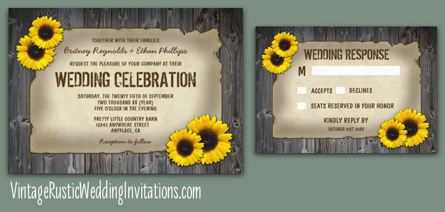 country barn wood sunflower wedding invitations