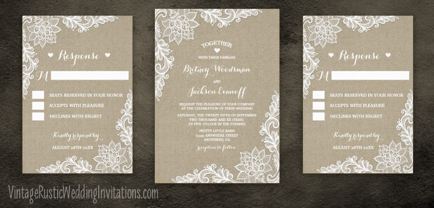 Burlap and floral lace wedding invitations set.