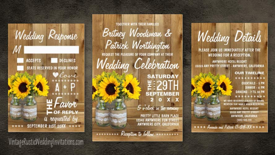 burlap and lace mason jar sunflower wedding invitations set
