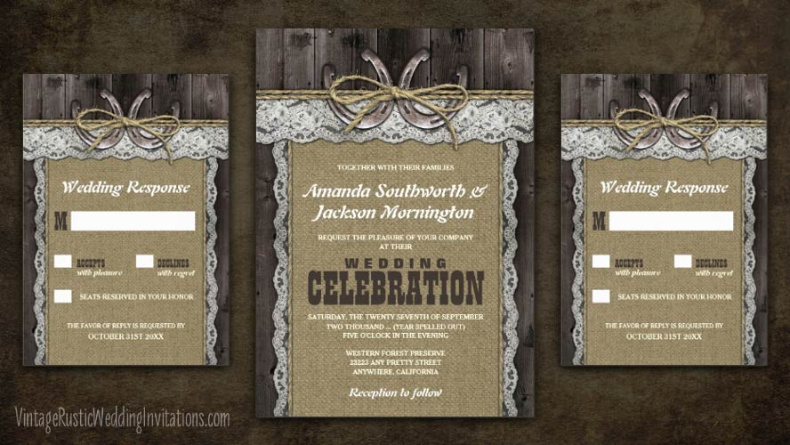 Burlap and lace wedding invitations with twine and horseshoes.
