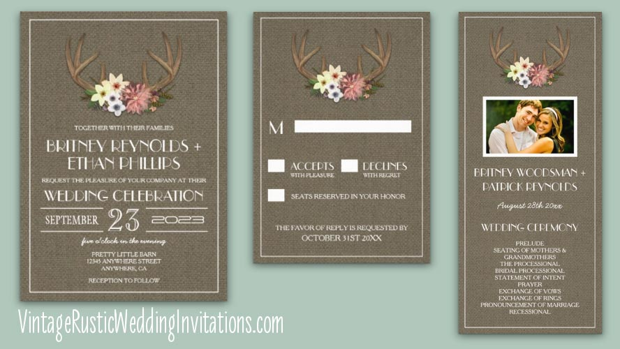 country burlap deer antler wedding invitations