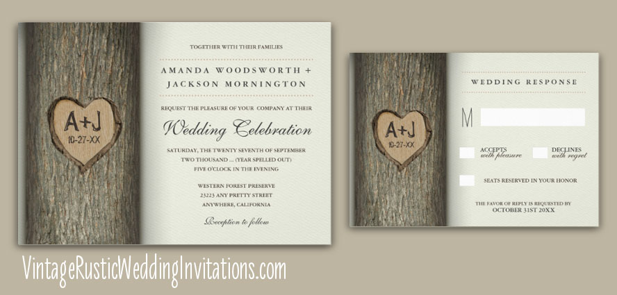 Oak Carved Heart Tree Wedding Invitations