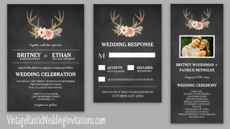 deer antler wedding invitations - Deer Wedding Invitations