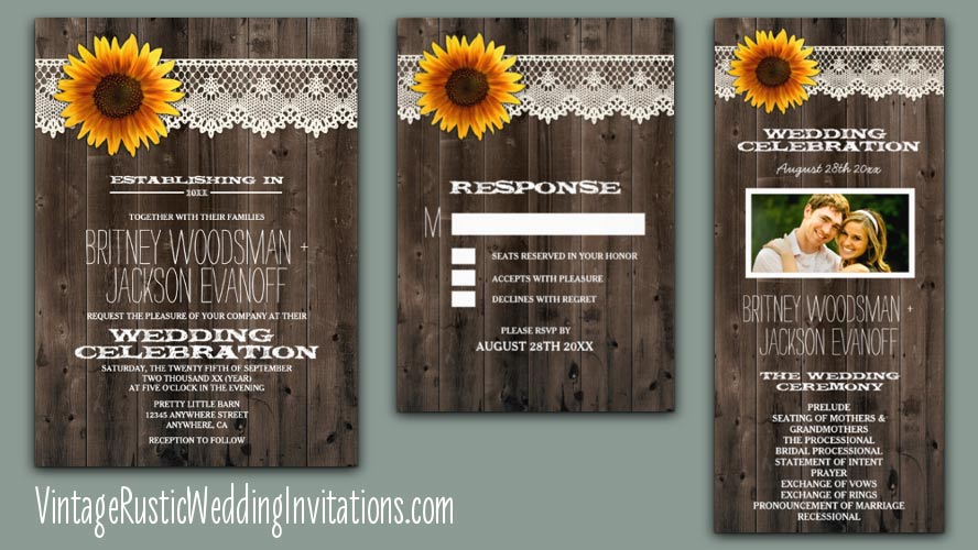 lace barn wood sunflower wedding invitations collection