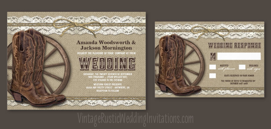 Country rustic burlap and lace wedding invitations with cowboys boots and a wagon wheel design