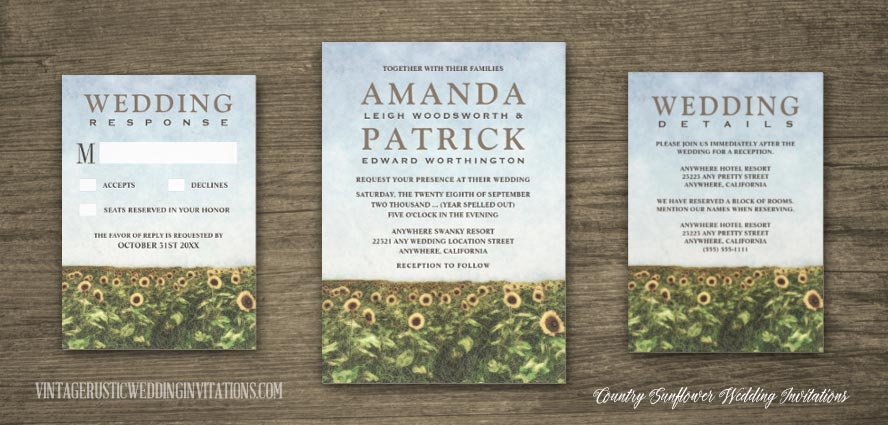 Country themed sunflower watercolor wedding invitations.