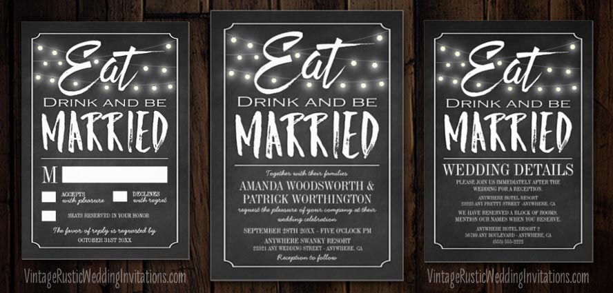 chalkboard wedding invitations - vintage rustic wedding invitations, Wedding invitations