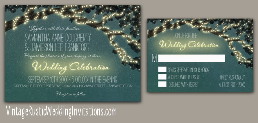 Country tree branch wedding invitations with lights