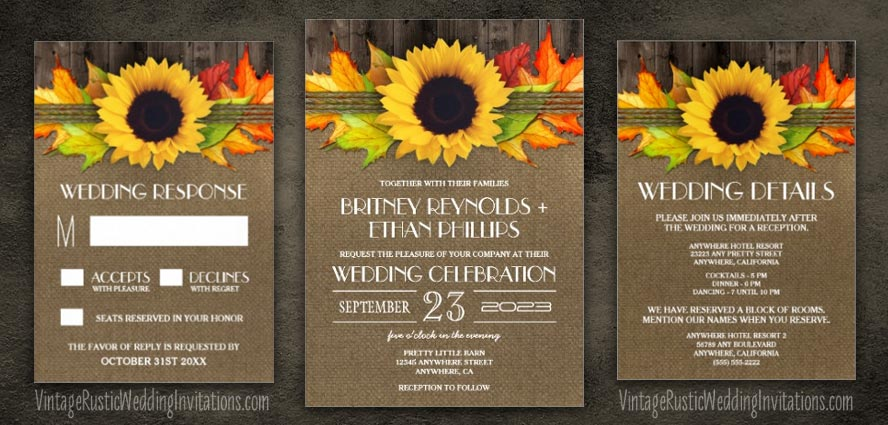 Sunflower wedding invitations vintage rustic wedding invitations fall sunflower wedding invitations junglespirit Gallery