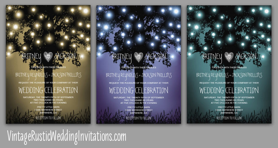 Firefly rustic forest tree wedding invitations