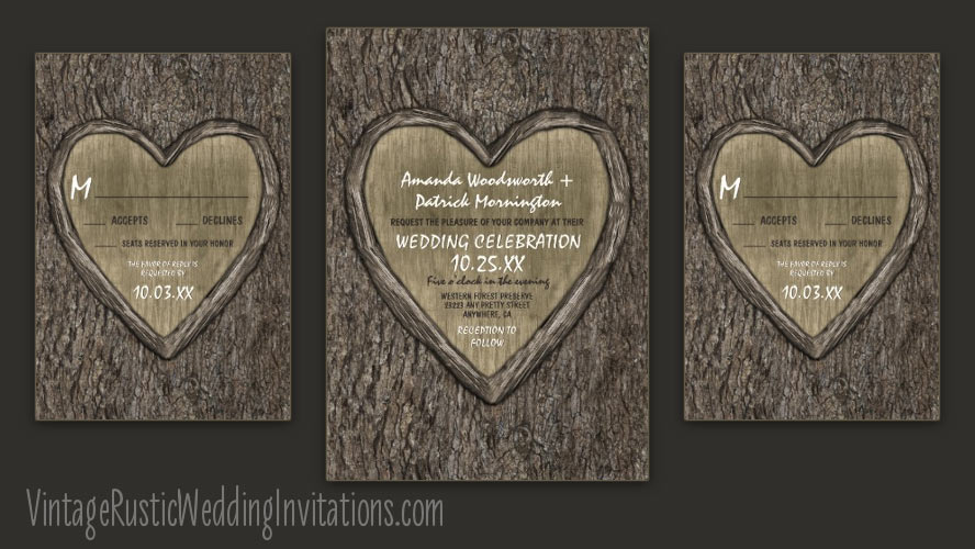 Oak tree bark wedding invitations