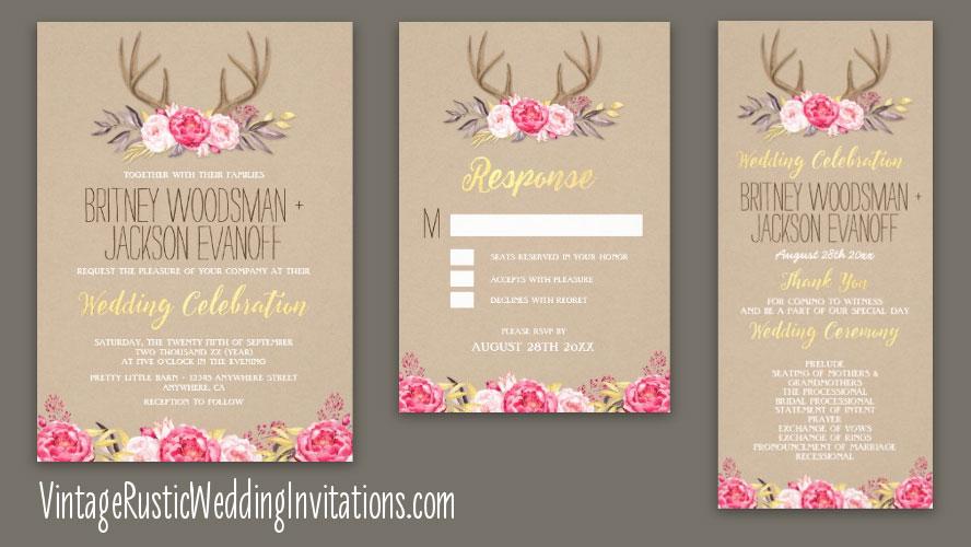 rustic peony and deer antler wedding invitations - Deer Wedding Invitations