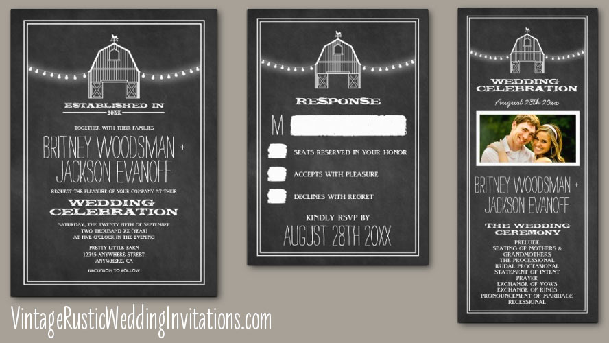 Chalkboard White Barn Wedding Invitations Set