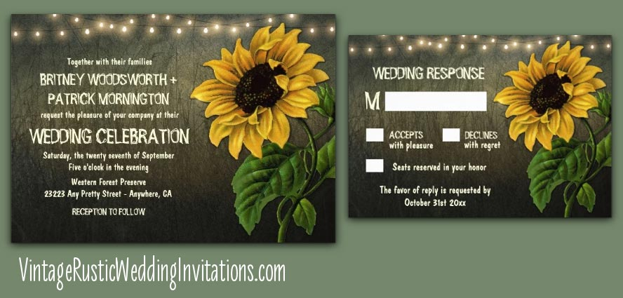 Rustic lights sunflower wedding invitations
