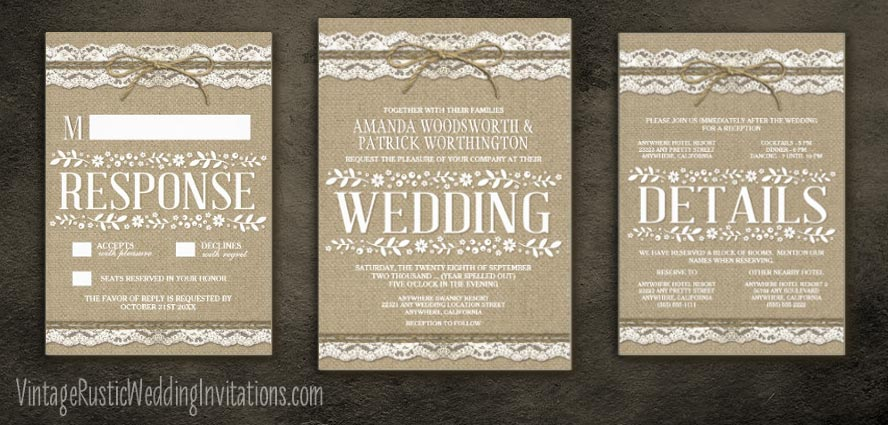 Rustic twine burlap and lace wedding invitations