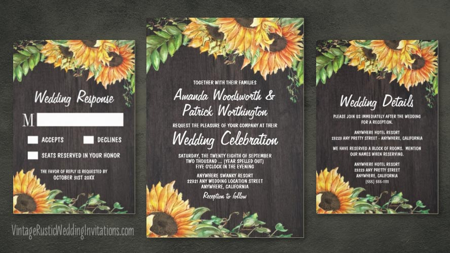 Rustic watercolor sunflower wedding invitations set