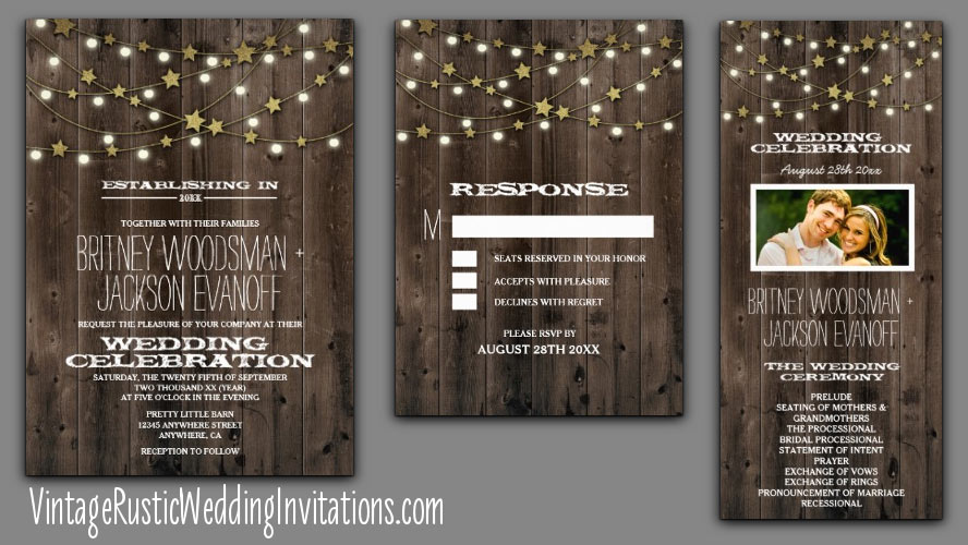 string lights and stars wooden barn wedding invitations