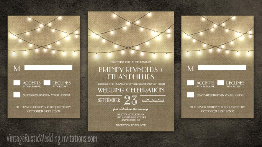 String lights and burlap wedding invitations.