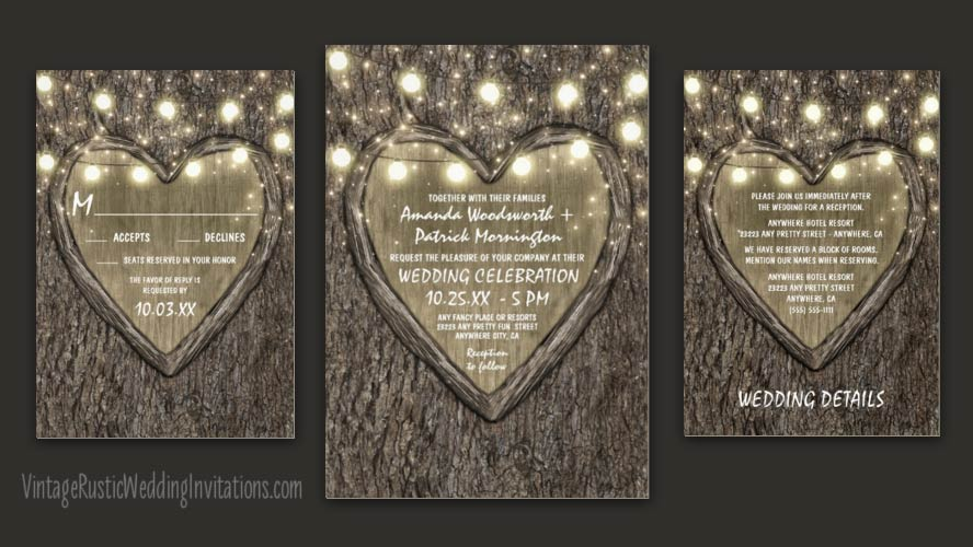 Oak tree bark wedding invitations with string lights