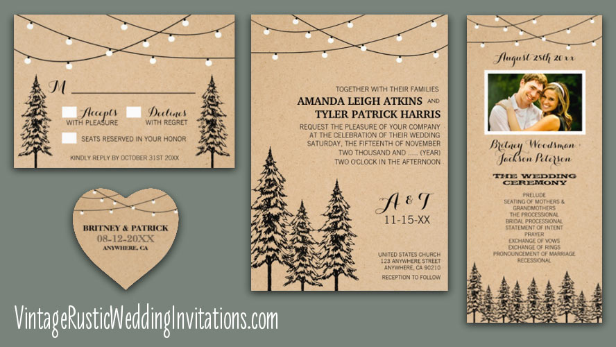 pine tree wedding invitations with twinkle lights