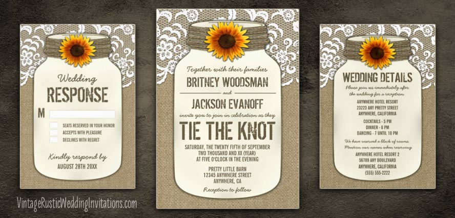 country burlap lace mason jar sunflower wedding invitations set