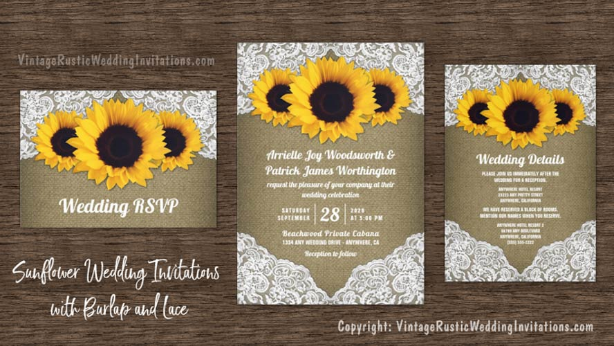 Sunflower wedding invitations with burlap and lace set.