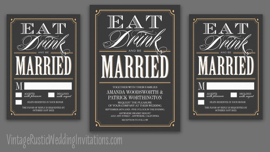 eat drink and be married wedding invitations - vintage rustic, Wedding invitations