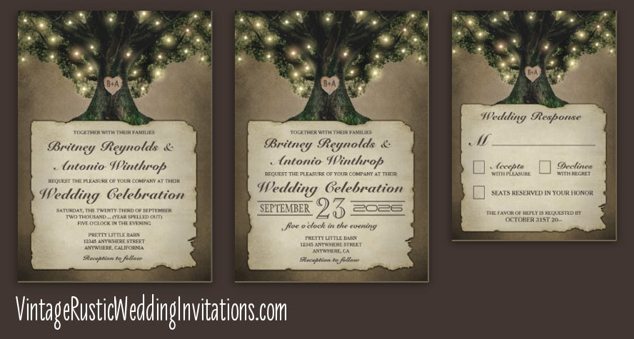 Tree Wedding Invitations - Page 2 of 2 - Vintage Rustic Wedding ...