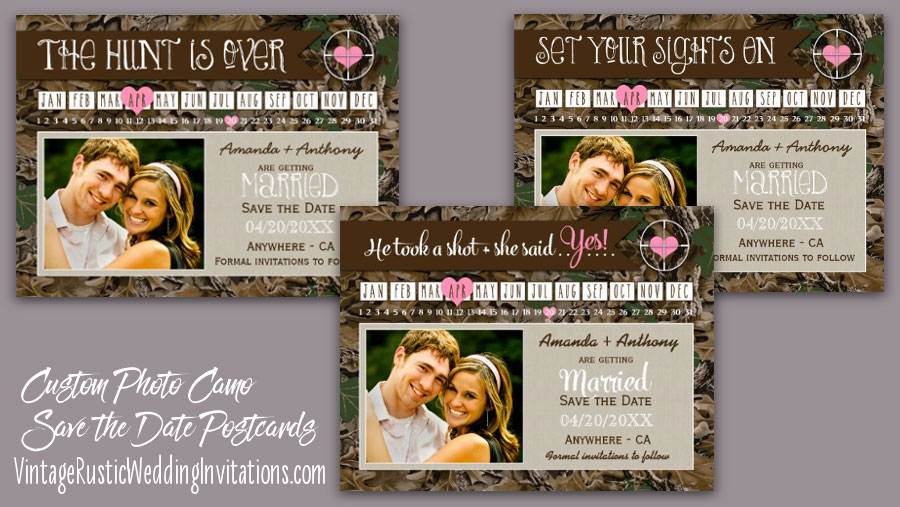 wedding the hunt is over camo save the date postcards