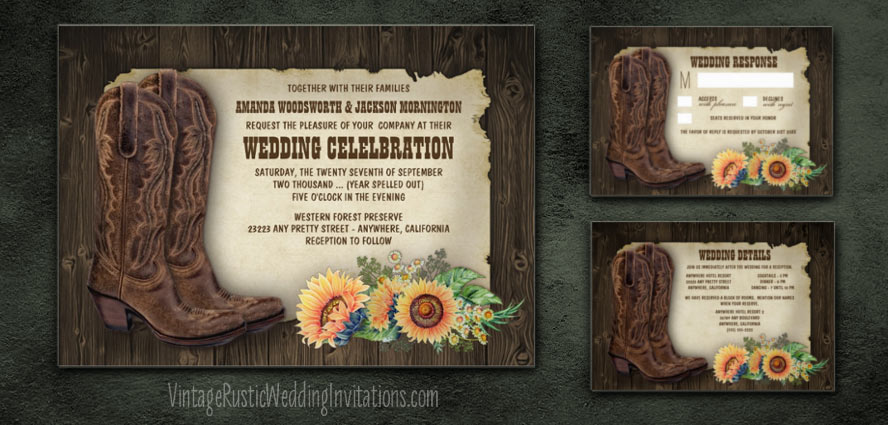 Country western themed sunflower wedding invitations