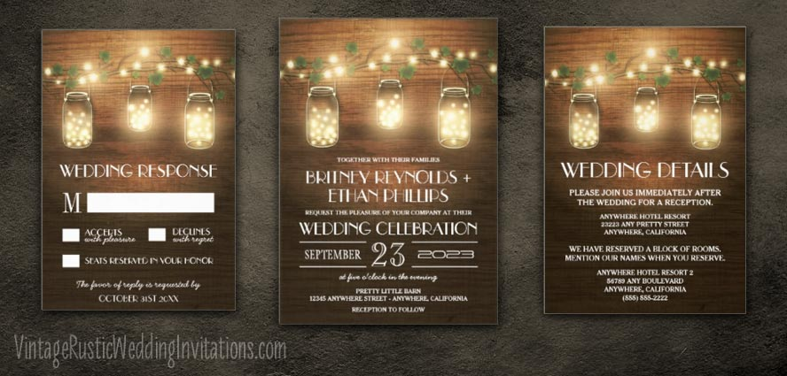 Mason Jar Wedding Invitations Vintage Rustic Wedding Invitations