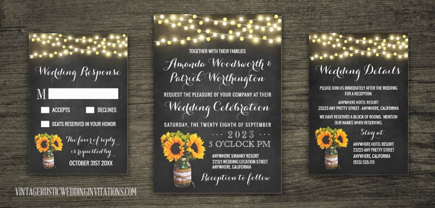 Chalkboard mason jar wedding invitations decorated in burlap and lace with sunflowers and twinkle lights