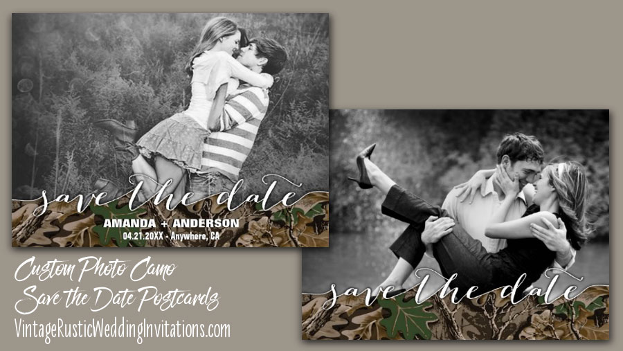 camo save the date postcards