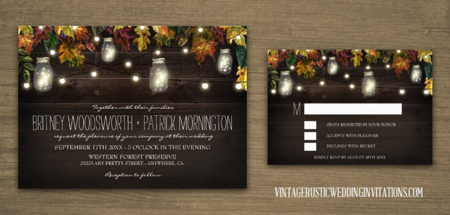 Fall themed mason jar wedding invitations with leaves and string lights