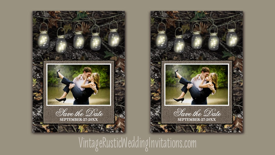 Mason jar camo save the date cards