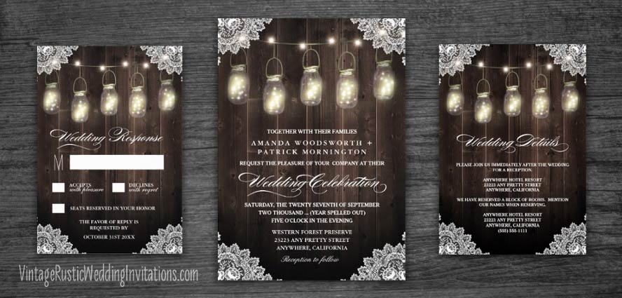 Mason jar wedding invitations with country lace and rustic barn wood design