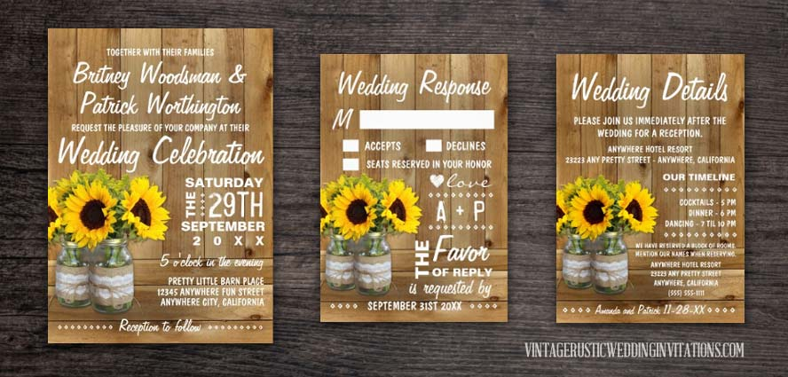 Mason jar wedding invitation with sunflowers burlap and lace