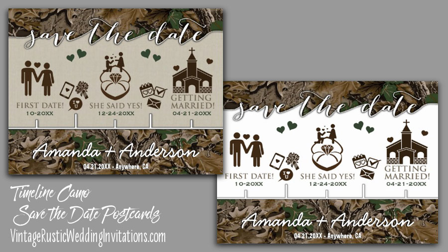 timeline camo save the date postcards