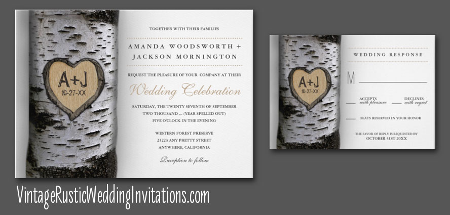 Birch tree wedding invitations with carved initials
