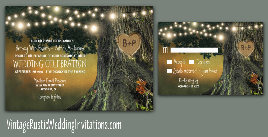 Country oak tree wedding invitations with sunset background and string lights