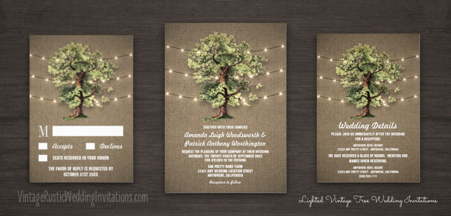 Country burlap vintage oak tree wedding invitations set