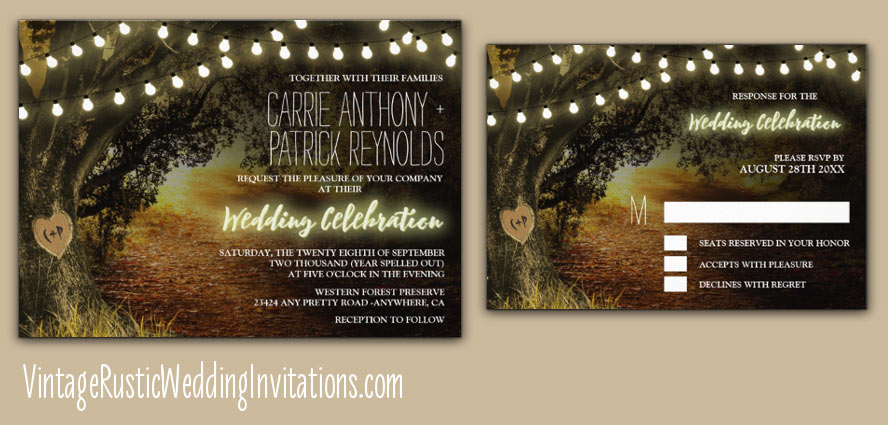 fall themed string lights carved grandfather oak tree wedding invitations
