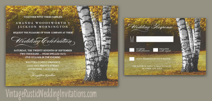 Fall white birch tree wedding invitations