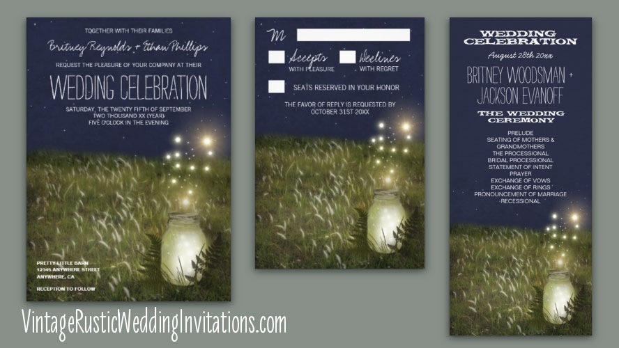 Wheat field mason jar themed wedding invitations