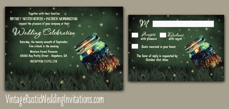 Mason jar firefly wedding invitations